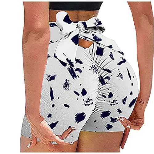 Pantalones cortos de yoga sexy para mujer, cintura alta, atar con nudo de lazo, levantamiento de glúteos, control de barriga, para entrenamiento, correr, fitness, Puntos azul marino, XX-Large