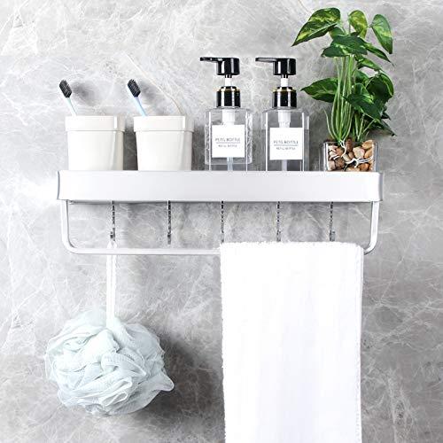 Yorbay Handtuchhalter ohne Bohrung mit Montagestoff, Handtuchstange aus Aluminium mit 5 Haken, für Bad Küchen Toilette(Mehrweg)