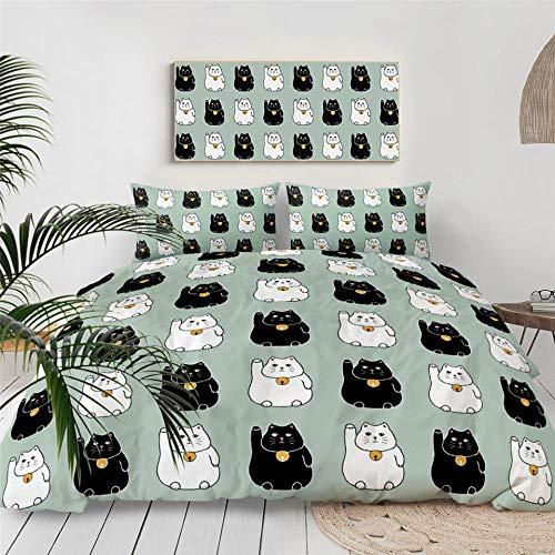 Erbaeo 4 delar barnpåslakan med 1 dra-på-lakan och 2 kuddar, enkel tecknad katt – tryck sängkläder set med dragkedjestängning, pojkar barn påslakan dubbel: 200 x 200 cm
