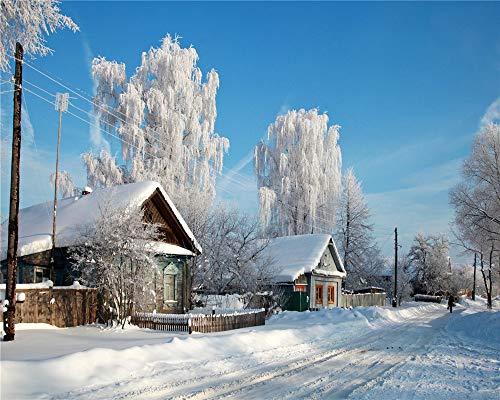 Aymsm Puzzle da 1000 Pezzi, Russia, Neve, Villaggio, roba Natalizia