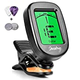 Souidmy Guitar Tuner, with 9 Tuning Modes, for Guitar, Bass, Violin, Ukulele and Chromatic, Easy to Use, Portable Clip-On Instrument Tuner for Beginners and Professionals(2 Picks & 2 Batteries)