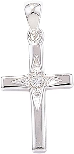 entrega rápida plata de de de Ley Circonita Estrella Cruz colgante en un collar de serpiente  mas barato