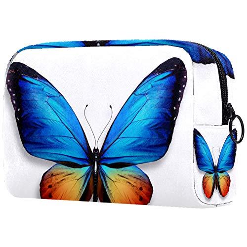 Bolsa de Maquillaje Mariposa Azul Neceser de Cosméticos y Organizador de Baño Neceser de Viaje Bolsa de Lavar para Hombre y Mujer 18.5x7.5x13cm