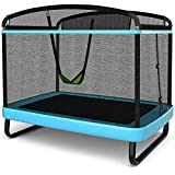 Giantex 6 Ft Kids Trampoline with Swing, Indoor Outdoor Mini Trampoline with Safety Enclosure Net, Built-in Zipper, ASTM Approved Heavy Duty Baby Rectangle Trampoline, Max Load 220lbs