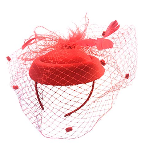 Baoblaze Fascinator Hut Feder Hochzeit Haar Dekor Kopfbedeckung Haarschmuck für Cocktail Tea Party - rot