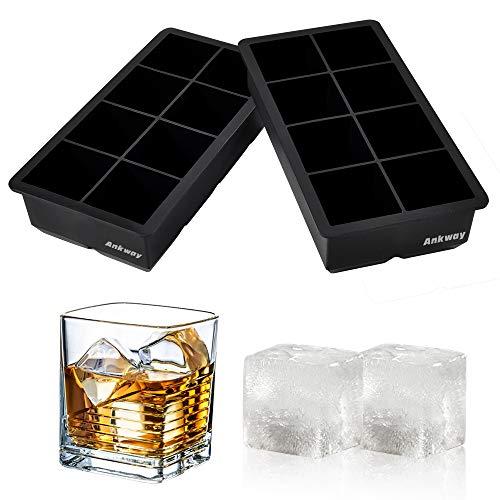Ankway Ampia Modanatura in Silicone, 2 (XXL), 8 cavità Senza BPA, per Cocktail di Whisky e Scotch, Latte, Succo di Frutta, Cibo, Cioccolato Fondente, 2 Set Quadrati, s