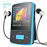 AGPTEK Mini Clip G05BL - Reproductor MP3 (8 GB, carcasa de silicona, con FM, color azul)