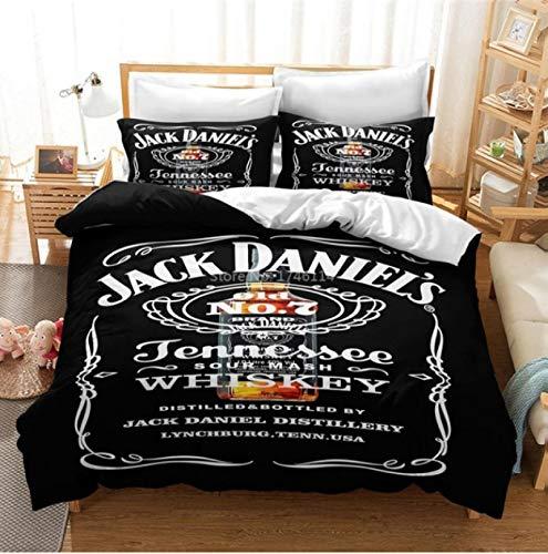Hanyyj Funda Nórdica Jack Whisky Bebida Famosa Impresión Ropa De Cama Traje De Tres Piezas Textiles para El Hogar 220X240Cm