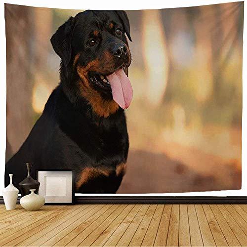 Tapiz de Pared Tapestry Marrón fuerte perro Rottweiler raza a pie animales vida silvestre adorable adulto otoño hermosa belleza Wall Hanging 80X60inch