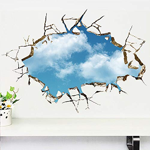 Kinder 3D Universum Blauer Himmel Weiße Wolke Wandaufkleber Baby Zimmer Decke Dach Kunst Wandbild Heimdekoration Selbstklebende Boden Wanddekoration Raum Poster Cartoon Anime 50X70CM