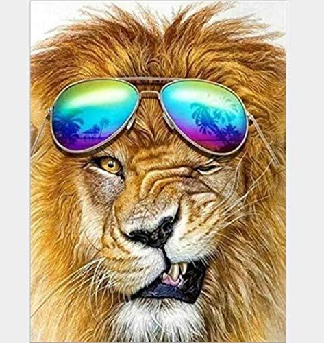 Geschilderde Leeuw Het dragen van Zonnebril 5D DIY Diamant Tekenen Ronde Volledige Boor Kit Verf door Nummers Borduurwerk Crystal Strass Muurstickers 50cmx60cm 50cmx60cm