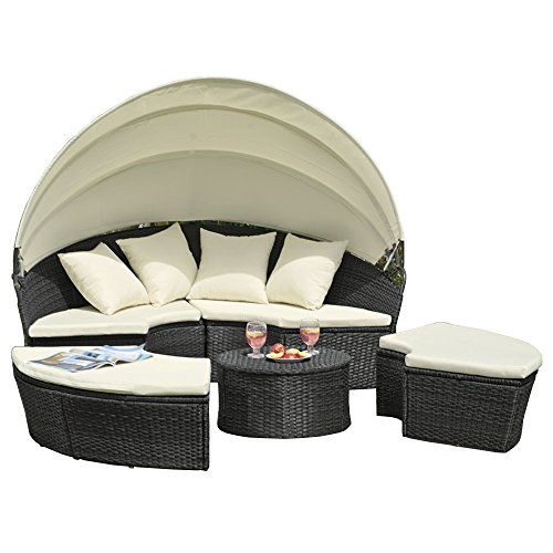 JLSun Sonneninsel Poly Rattan Lounge Sonnenliege Sitzgruppe Gartenmöbel,JLG63
