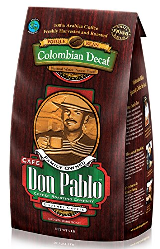Cafe Don Pablo 5LB Decaf Swiss Water Process Colombian Gourmet Coffee Decaffeinated - Medium-Dark Roast - Whole Bean Coffee - 5 Pound (5 lb) Bag
