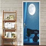 Mond Und Bär Puppe Bild Wandbild Wandaufkleber Tür Aufkleber Tapete Aufkleber Home Decoration...