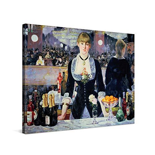 PICANOVA – Édouard Manet – A Bar at The Folies-Bergère 80x60cm – Quadro su Tela – Stampa Incorniciata con Spessore di 2cm Altre Dimensioni Disponibili Decorazione Moderna – Arte Classica