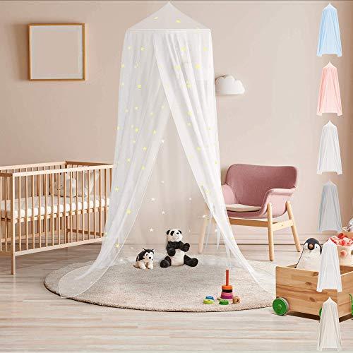 Premium Baldachin Kinderzimmer in 5 schönen Farben von BEARTOP | aus Baumwolle | mit stabilem kreisförmigem Ring | Ring wird in Stoff gesteckt | Saumlänge ca. 270cm | Zufriedenheitsgarantie (3 Jahre)*