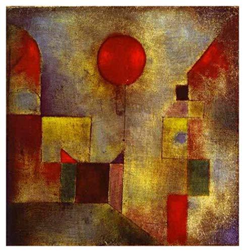 JH Lacrocon Red Baloon 1922 von Paul Klee - 50X50 cm Abstrakt Leinwand Gemälde Handgemalt Reproduktionen Gerollte Wandkunst für Wohnzimmer