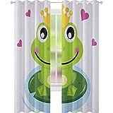 YUAZHOQI - Cortina de ventana de animales, diseño de rana alegre con corona y corazones, diseño de...