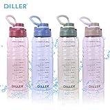 Diller 2l Trinkflasche Sport Wasserflasche Flasche BPA Frei Gym Auslaufsicher Flasche wasserflasche 2 Liter De22 (2000ml, Blau)
