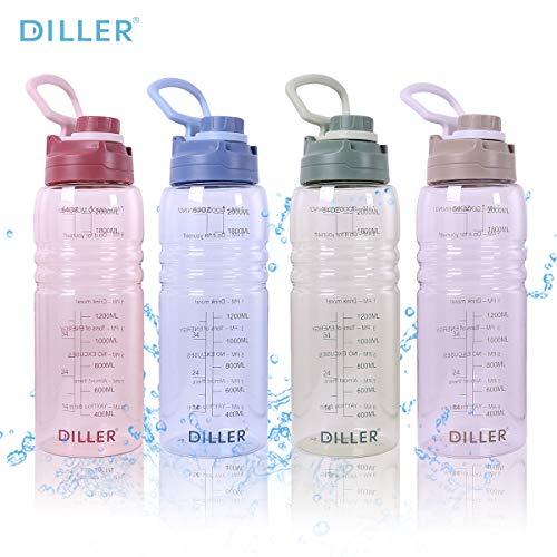 Diller 2l Trinkflasche Sport Wasserflasche Flasche BPA Frei Gym Auslaufsicher Flasche wasserflasche 2 Liter De22 (2000ml, Grün)