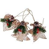 CoURTerzsl 3pcs Albero di Natale Artificiale Agrifoglio pigne Stella Cuore Ornamento Party Decor Light Coffee