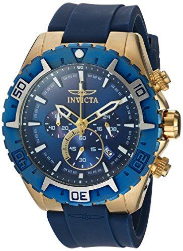 Invicta 22523 22525 Aviator - Reloj de cuarzo para hombre, acero inoxidable, correa de silicona, color azul, negro