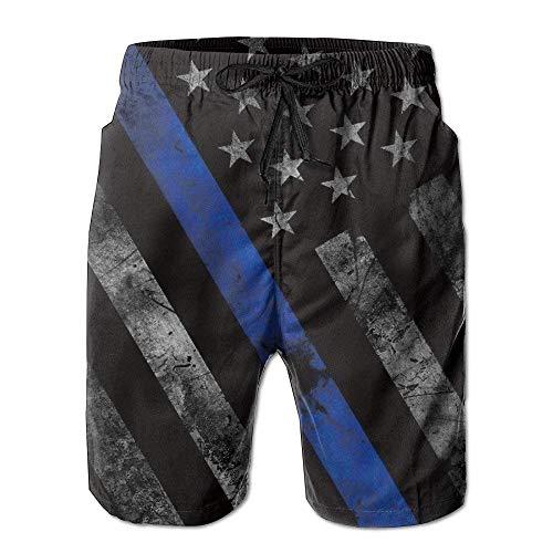 Jhonangel Blue Lives Matter Flag Plage d'été à séchage Rapide Surf Maillots de Bain Boardshorts Pantalon Cargo XL