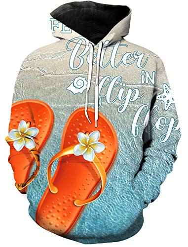 Women and Men's 3D Printed Hoodie, Vintage Wood Grain Slippers Beach Starfish Life is Better Novelty Sweater, Leisure Hoodies with Big Pockets, Drawstring Pullover Hooded Sweatshirts