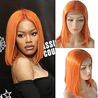 Orange Lace Bob Wigs Virgin Human Hair 10inch Straight Pre Plucked 13×4 Frontal Swiss Lace Middle Part Short Cut Orange Bob 180% Density for Women(Could be restyle)