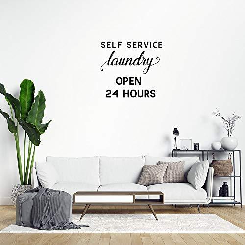 Adhesivo de pared de PVC extraíble para lavandería de autoservicio abierto las 24 horas de la decoración del hogar, sala de estar, cocina