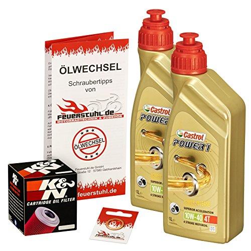 Castrol 10W-40 Öl + K&N Ölfilter für Yamaha Raptor 700 /SE (YFM 700 R), 06-15 - Ölwechselset inkl. Motoröl, Filter, Dichtring