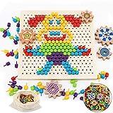 Herefun Tablero de Mosaicos Infantiles, 250 Piezas Mosaicos Botones, Rompecabezas Niños de Uñas Setas, Puzzle Mosaico Juguete Madera Educativo Temprano para Niños y Bebés (B)