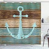 ABAKUHAUS Anker Duschvorhang, Anker auf Holzplanken, Digital auf Stoff Bedruckt inkl.12 Haken Farbfest Wasser Bakterie Resistent, 175 x 200 cm, Hellblau Braun Blaugrün