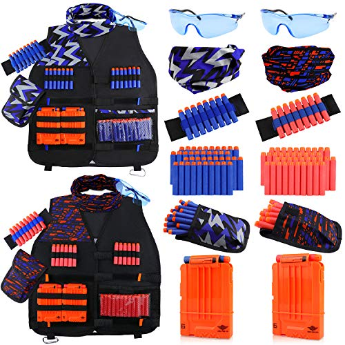 UWANTME Gilet Tattico per Nerf Bambini 2 Set N-Strike Elite Serie Tactical Vest Kit Giocattoli Nerf Accessori per Bambini Ragazzi