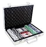 Set de Poker / Póquer, Texas Holdem, Blackjack Completo con Maletín de Aluminio, Juego de Fichas Plástico, Mini Casino Portátil, Accesorios de Baccarat, Juegos de Mesa y Entretenimiento (200 FICHAS)