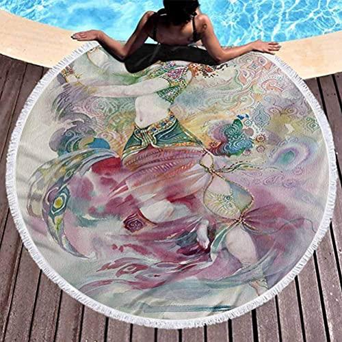 Toalla de Playa al Aire Libre de Secado rápido Toalla de Playa de Acuarela para Mujer Tema de Danza Oriental Chica Joven con Traje Tradicional Uso de Figuras de fantasía para niños, Mujeres, Hombres,
