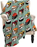 ARRISUM Sushi English Bulldog Blanket Novelty Soft Flannel for Adult and Kids Giant Funny Realistic Food Lightweight Throw Blanket for Bed & Couch 60'' X50