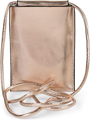 styleBREAKER Borsa a tracolla per cellulare da donna in metallo, borsa a tracolla, borsa portacellulare, mini borsa 02012307, colore:Rosa Oro