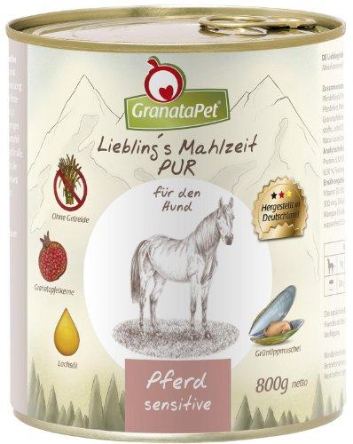 GranataPet Liebling's Mahlzeit Pferd PUR, Nassfutter für Hunde, Hundefutter ohne Getreide & Zuckerzusätze, Alleinfuttermittel mit hohem Fleischanteil & hochwertigen Ölen, 6 x 800 g
