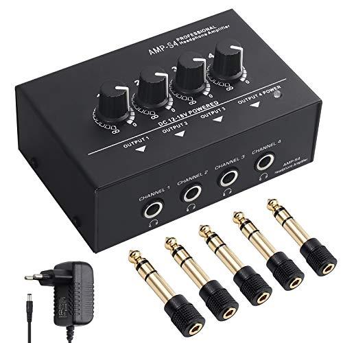 Neoteck Amplificador de Auriculares Estéreo Portátil 4 Canales Divisor Multicanal Jack de Auriculares TRS y Entrada de Audio TRS para Mezclador de Sonido con 5 Piezas de Adaptador 6.35mm to 3.5mm