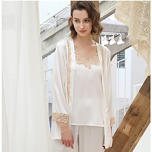 BBZZ Tres Temporadas Pueden Usar Nuevas Damas de Encaje de Seda Ropa de hogar de la Moda Coreana Pijamas de 3 Piezas,Blanco,XL