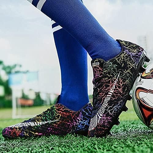 XRDSHY Botas de fútbol para Hombre, jóvenes, Zapatos de Entrenamiento Profesionales, para Exterior, Botas de fútbol para Niños,Black A-37 EU
