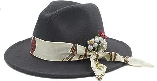 Sun Hat for men and women Women Winter Wool Fedora Hat With Flower Satin Church Jazz Hat Wide Brim Cloche Hat Fascinator Size 56-58CM
