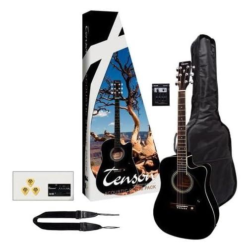 Tenson F502236 - Pack guitarra electro-acústica, color negro: Amazon.es: Instrumentos musicales