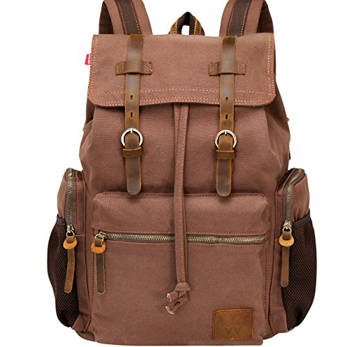 WOWBOX Canvas Backpack Vintage Leather 17.3 Inch Laptop School Backpack Travel Rucksack Coffee