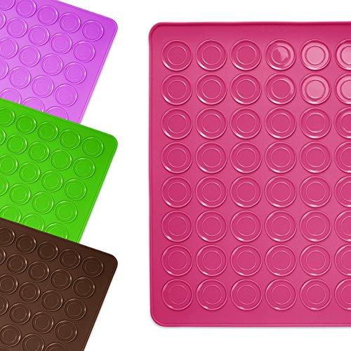 Lumaland Cuisine formschöne Silikon Backmatte für Macarons Kekse 30x40 cm robust rutschfest im Backofen bis 230 °C pink