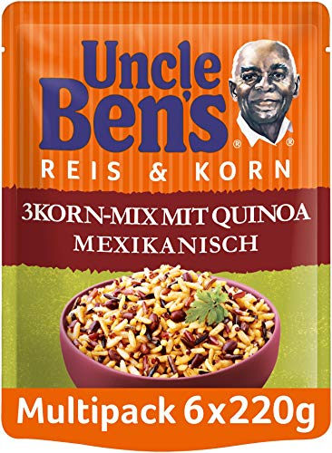 Uncle Ben's Express-Reis & Korn 3-Korn Mix mit Quinoa Mexikanisch, 6 Packungen (6 x 220g)
