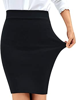 Qanzeeki Colorfast Elastic High Waist Knee Length Pencil Skirt