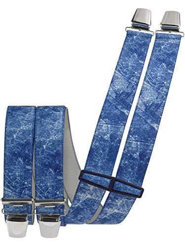 Harrys-Collection Herren Hosenträger mit 4 Clips in 2 Jeans Farben, Größen:120 cm, Farben:jeansblau