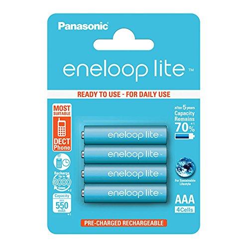 Panasonic eneloop lite, pile Ni-MH prête à l'emploi, AAA Micro, pack de 4, min. 550 mAh, 3000 cycles de charge, faible autodécharge, pile rechargeable